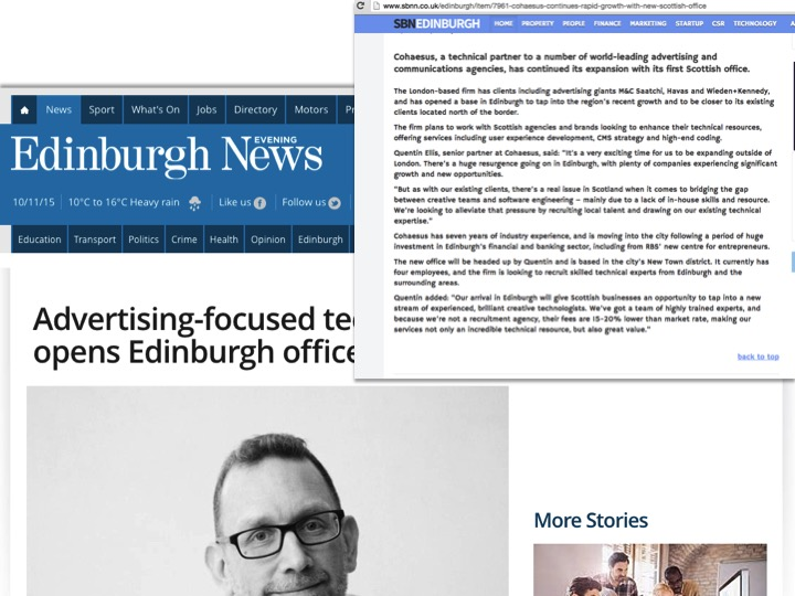 PR for Cohaesus in Edinburgh